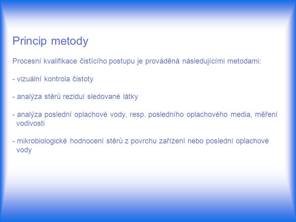 Princip metody Procesní kvalifikace čistícího postupu je prováděná následujícími metodami: - vizuální kontrola čistoty - analýza stěrů reziduí sledova