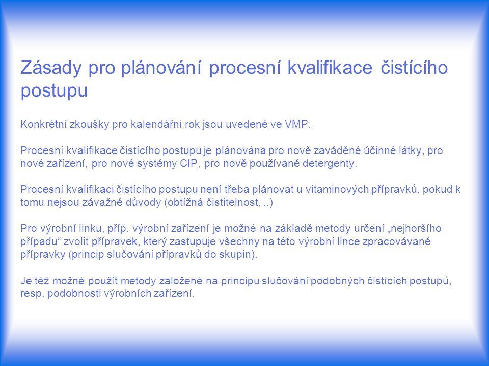 Zásady pro plánování procesní kvalifikace čistícího postupu Konkrétní zkoušky pro kalendářní rok jsou uvedené ve VMP. Procesní kvalifikace čistícího p