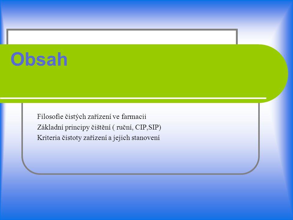 Obsah Filosofie čistých zařízení ve farmacii Základní principy čištění ( ruční, CIP,SIP) Kriteria čistoty zařízení a jejich stanovení