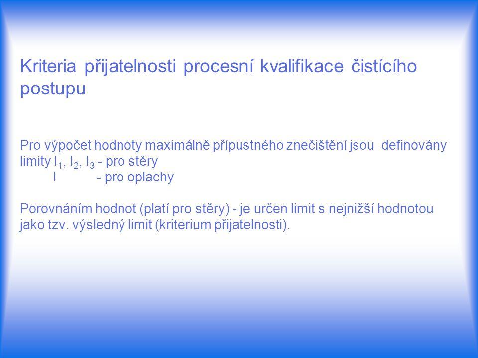 Kriteria přijatelnosti procesní kvalifikace čistícího postupu Pro výpočet hodnoty maximálně přípustného znečištění jsou definovány limity I 1, I 2, I