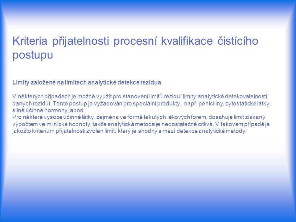Kriteria přijatelnosti procesní kvalifikace čistícího postupu Limity založené na limitech analytické detekce rezidua V některých případech je možné vy