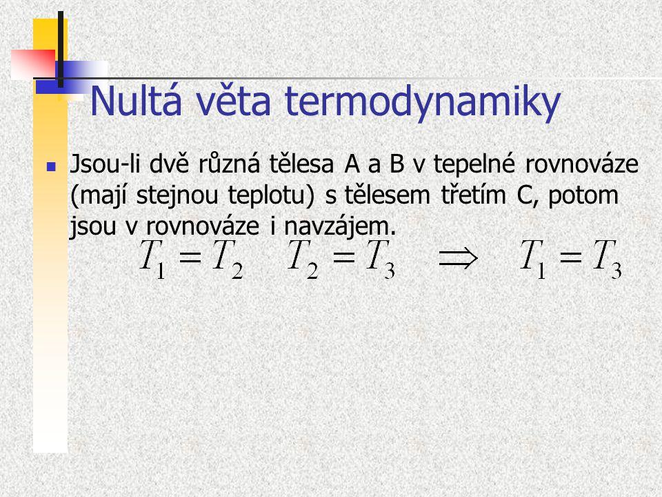 Nultá věta termodynamiky Jsou-li dvě různá tělesa A a B v tepelné rovnováze (mají stejnou teplotu) s tělesem třetím C, potom jsou v rovnováze i navzáj