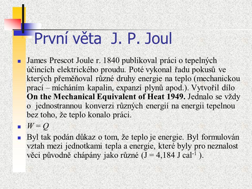 První věta J. P. Joul James Prescot Joule r. 1840 publikoval práci o tepelných účincích elektrického proudu. Poté vykonal řadu pokusů ve kterých přemě