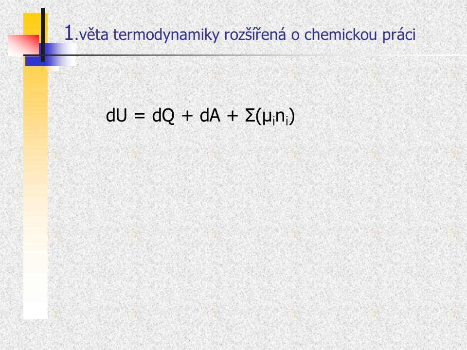1.věta termodynamiky rozšířená o chemickou práci dU = dQ + dA + Σ(μ i n i )