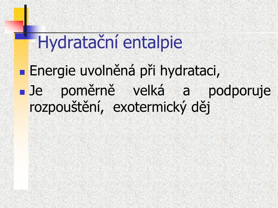 Hydratační entalpie Energie uvolněná při hydrataci, Je poměrně velká a podporuje rozpouštění, exotermický děj