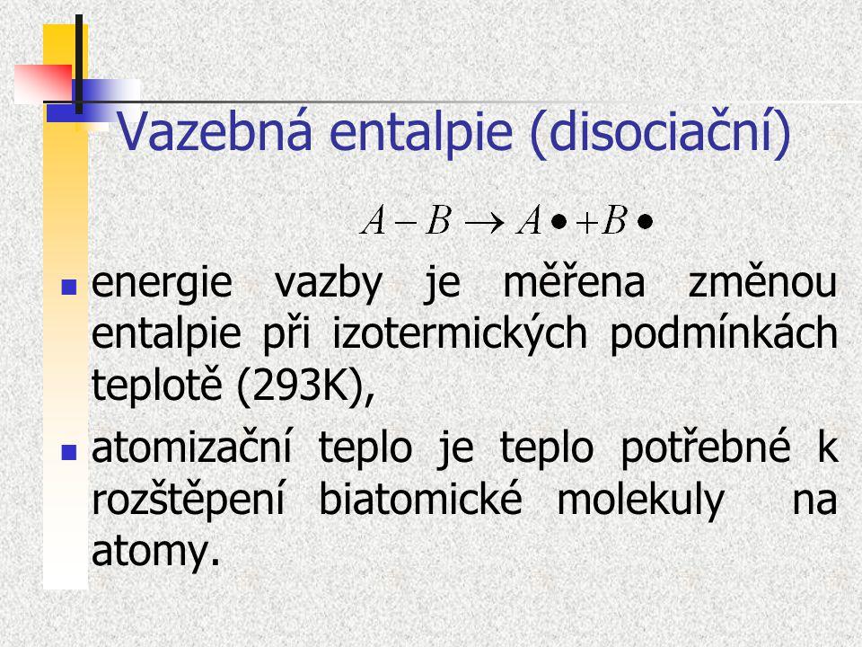 Vazebná entalpie (disociační) energie vazby je měřena změnou entalpie při izotermických podmínkách teplotě (293K), atomizační teplo je teplo potřebné