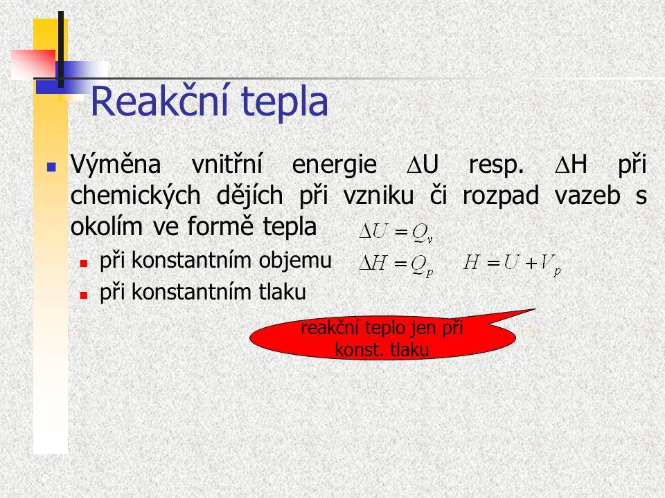 Reakční tepla Výměna vnitřní energie  U resp.  H při chemických dějích při vzniku či rozpad vazeb s okolím ve formě tepla při konstantním objemu při