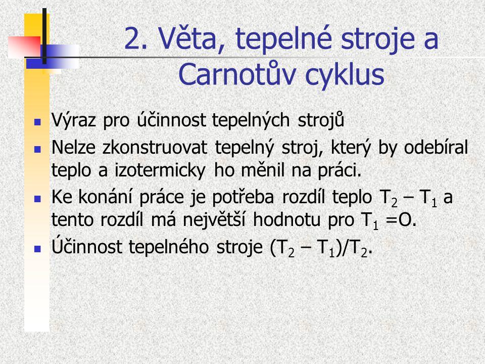 2. Věta, tepelné stroje a Carnotův cyklus Výraz pro účinnost tepelných strojů Nelze zkonstruovat tepelný stroj, který by odebíral teplo a izotermicky
