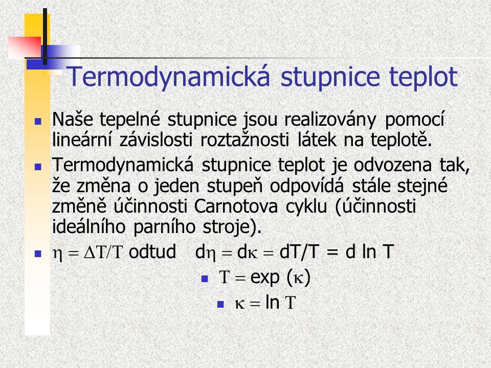 Termodynamická stupnice teplot Naše tepelné stupnice jsou realizovány pomocí lineární závislosti roztažnosti látek na teplotě. Termodynamická stupnice