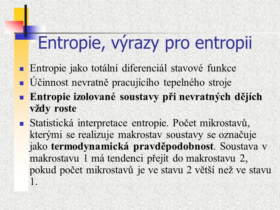 Entropie, výrazy pro entropii Entropie jako totální diferenciál stavové funkce Účinnost nevratně pracujícího tepelného stroje Entropie izolované soust