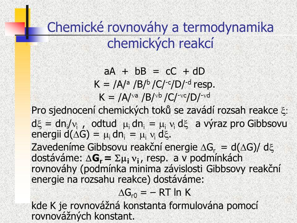 Chemické rovnováhy a termodynamika chemických reakcí aA + bB = cC + dD K = /A/ a /B/ b /C/ -c /D/ -d resp. K = /A/ a /B/ b /C/ - c /D/ - d Pro sjednoc