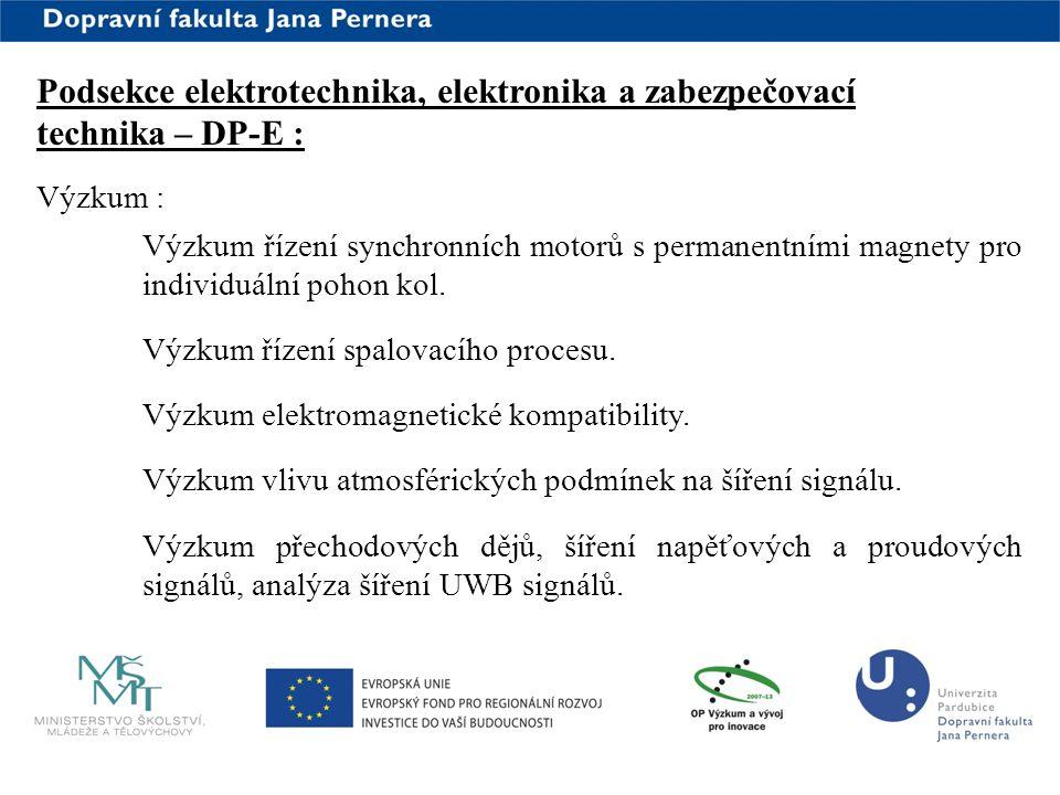 www.upce.cz Podsekce elektrotechnika, elektronika a zabezpečovací technika – DP-E : Výzkum : Výzkum řízení synchronních motorů s permanentními magnety