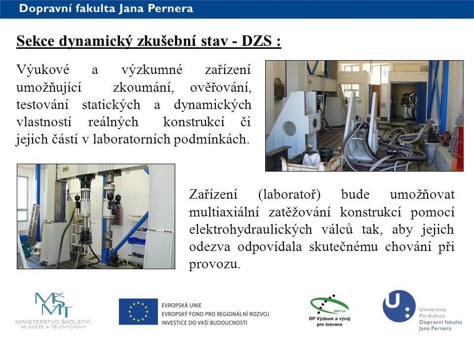 www.upce.cz Sekce dynamický zkušební stav - DZS : Výukové a výzkumné zařízení umožňující zkoumání, ověřování, testování statických a dynamických vlast