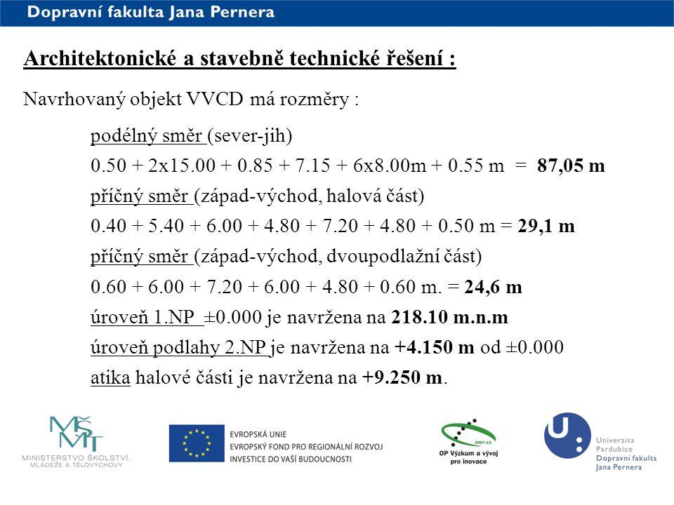 www.upce.cz Architektonické a stavebně technické řešení : Navrhovaný objekt VVCD má rozměry : podélný směr (sever-jih) 0.50 + 2x15.00 + 0.85 + 7.15 +