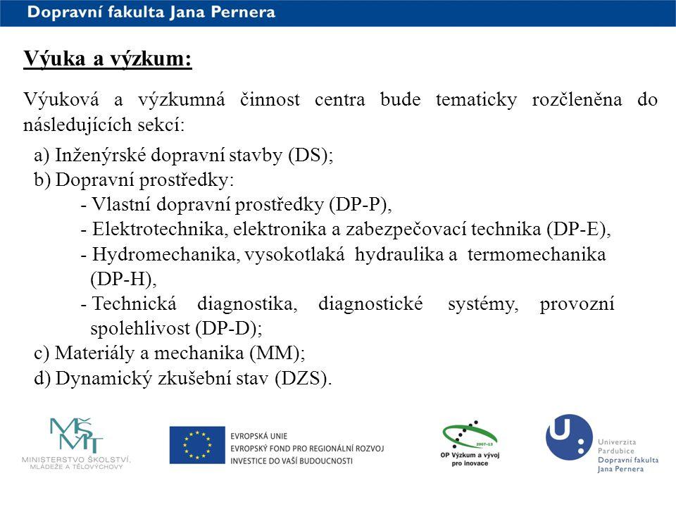 www.upce.cz Výuka a výzkum: Výuková a výzkumná činnost centra bude tematicky rozčleněna do následujících sekcí: a) Inženýrské dopravní stavby (DS); b)