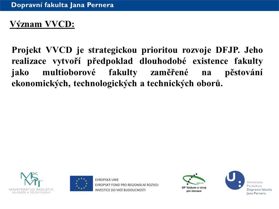 www.upce.cz Význam VVCD: Projekt VVCD je strategickou prioritou rozvoje DFJP. Jeho realizace vytvoří předpoklad dlouhodobé existence fakulty jako mult