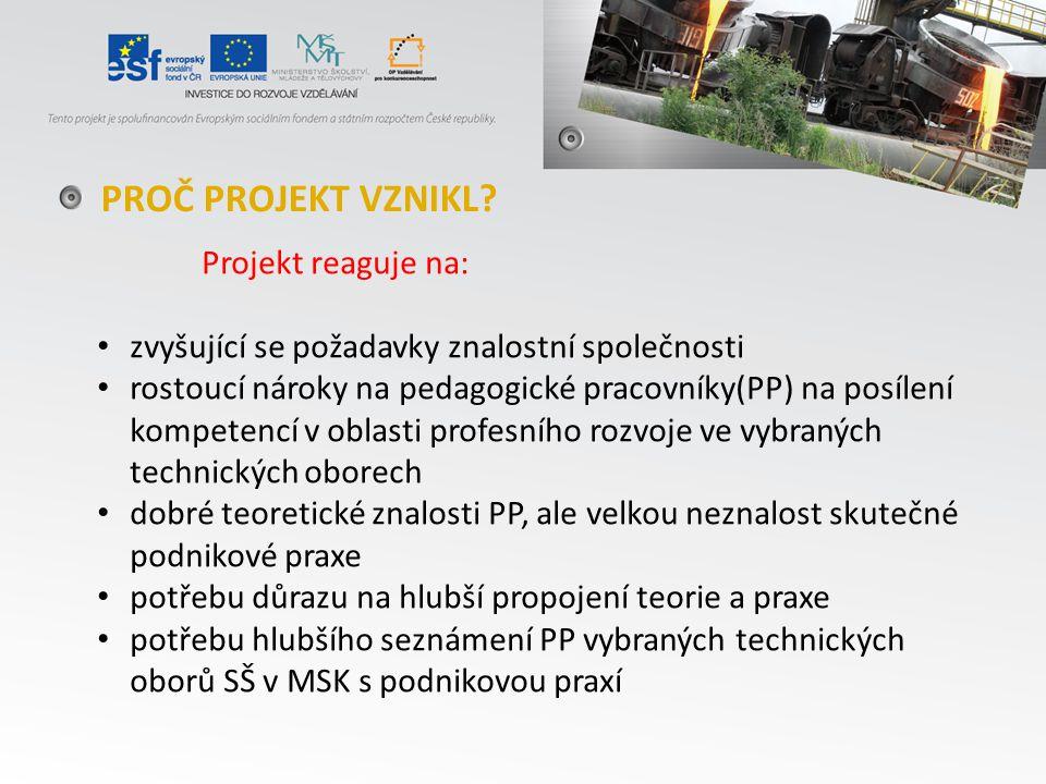 Projekt je zaměřen na podporu profesního rozvoje pedagogických pracovníků (PP) – vybraných technických oborů (zejména: huťař, strojař, elektrikář, koksař vč.