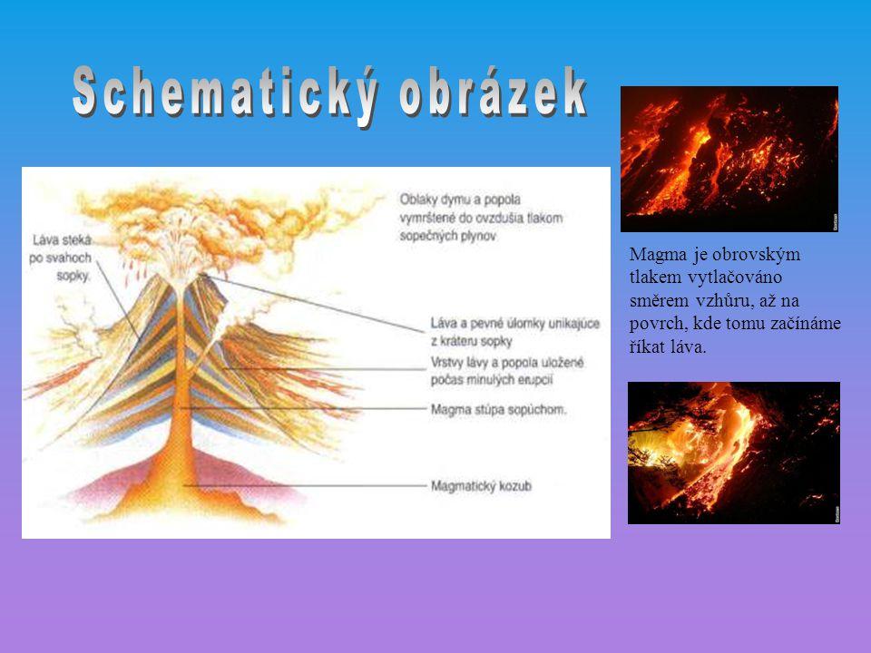 Magma je obrovským tlakem vytlačováno směrem vzhůru, až na povrch, kde tomu začínáme říkat láva.