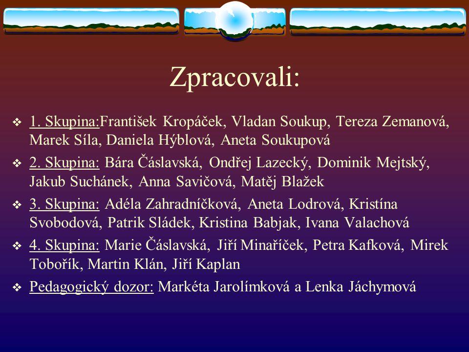Zpracovali:  1. Skupina:František Kropáček, Vladan Soukup, Tereza Zemanová, Marek Síla, Daniela Hýblová, Aneta Soukupová  2. Skupina: Bára Čáslavská