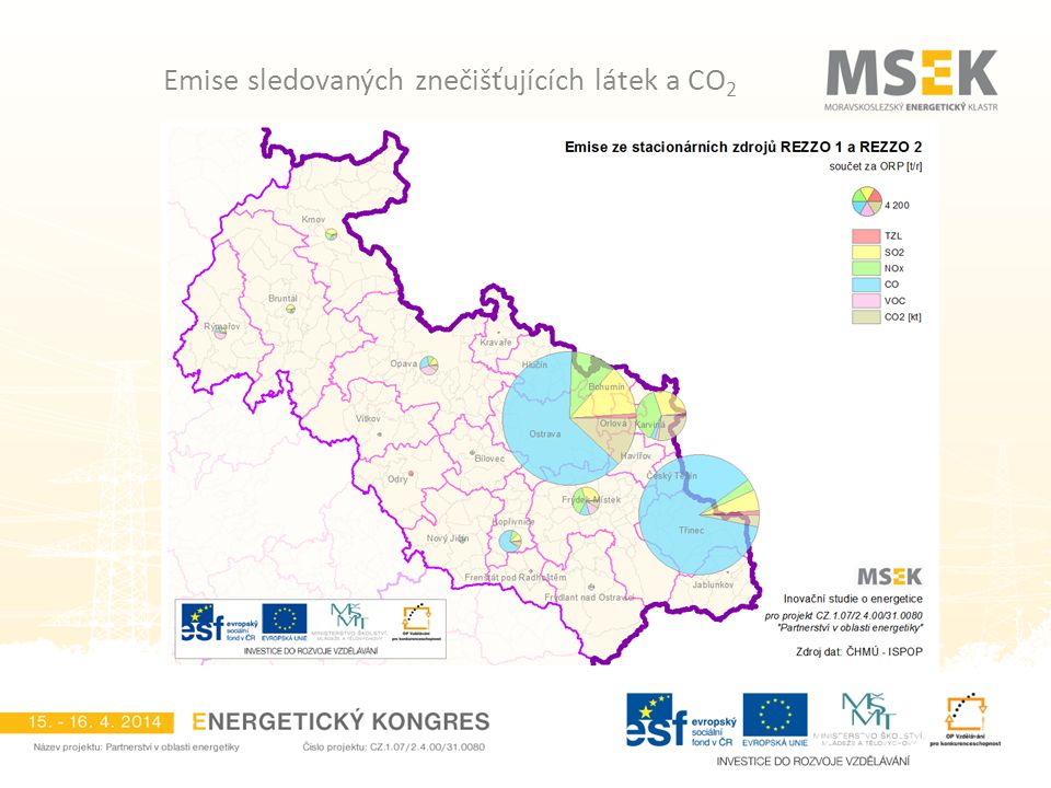 Emise sledovaných znečišťujících látek a CO 2