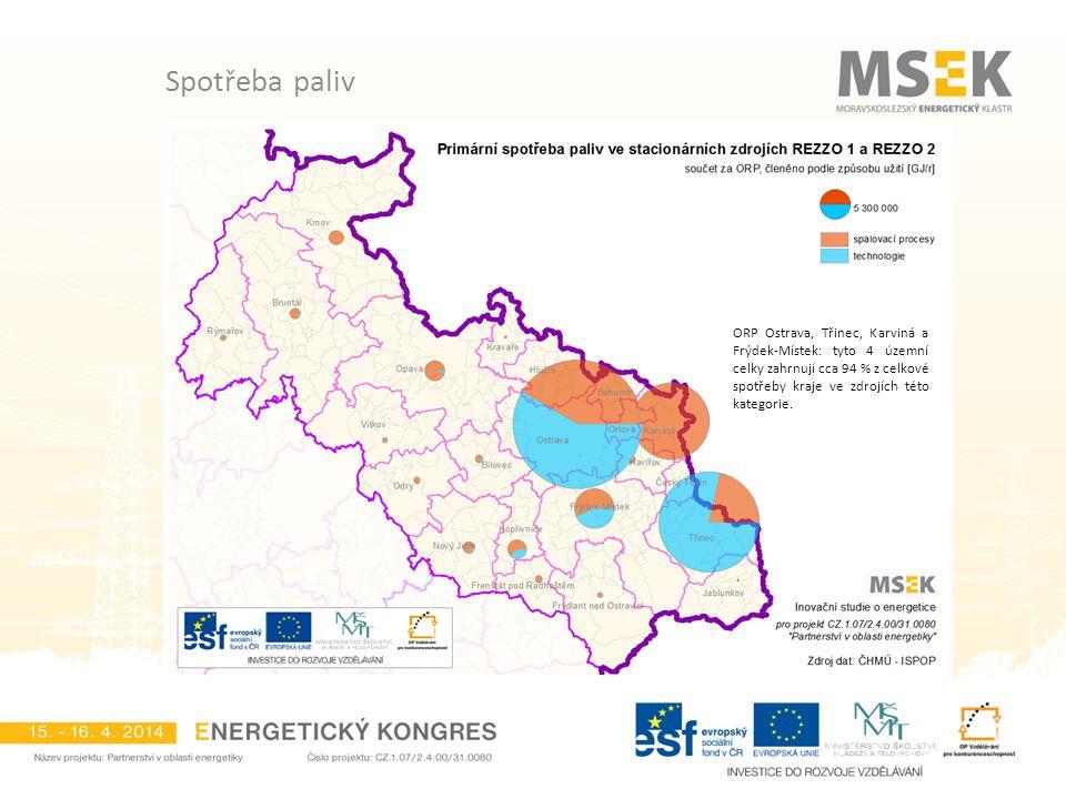 ORP Ostrava, Třinec, Karviná a Frýdek-Místek: tyto 4 územní celky zahrnují cca 94 % z celkové spotřeby kraje ve zdrojích této kategorie.