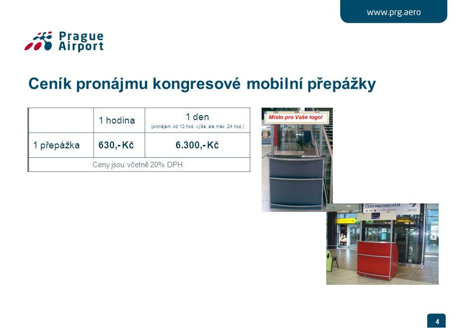 4 Ceník pronájmu kongresové mobilní přepážky 1 hodina 1 den (pronájem od 10 hod.