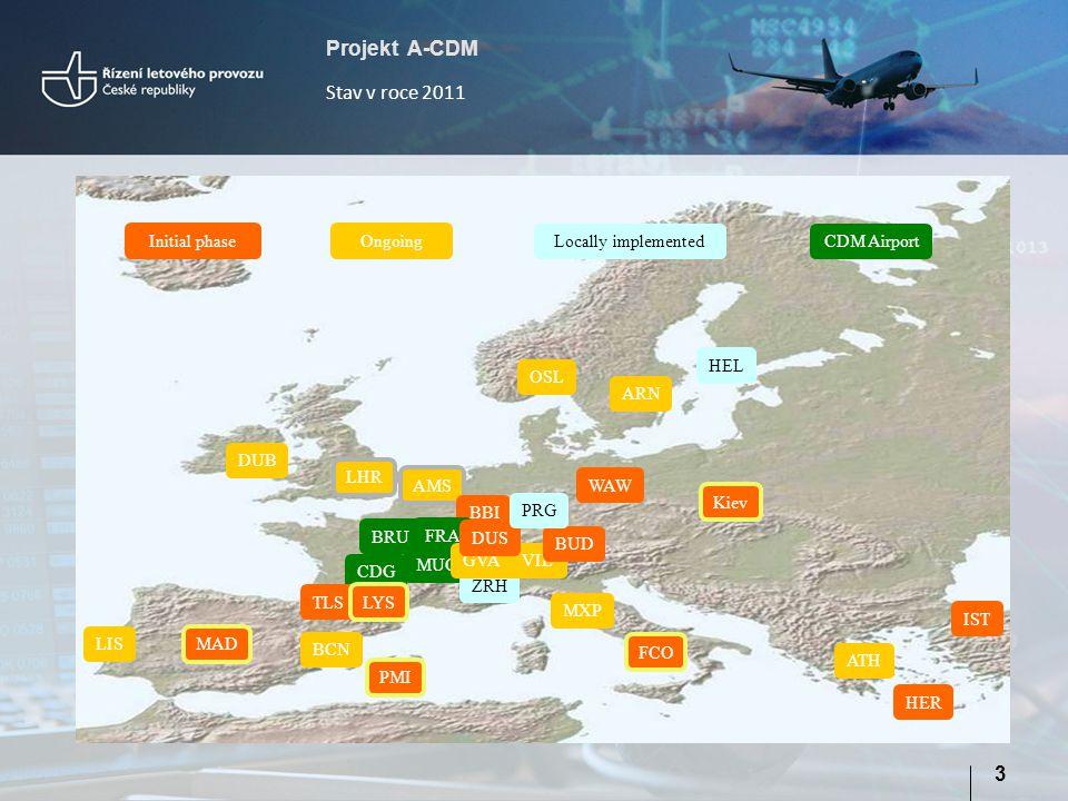 Projekt A-CDM 14 Fáze 3 – DPI – A-CDM pro síť ATM:  lepší využití kapacity;  lepší dodržování ATFM slotů pro letecké dopravce:  lepší dodržování CTOT dle místních omezení  lepší možnost sledování průběhu letu na letiště určení  asistence při aktualizacích letových plánů  snížené riziko pozastavení letového plánu - FAM  možnost zpoždění / posunutí TOBT  není vyžadována zpráva DLA, pokud je let zpožděn ATC na zemi  CTOT je fixován od okamžiku off-block  zlepšené řízení za LVP