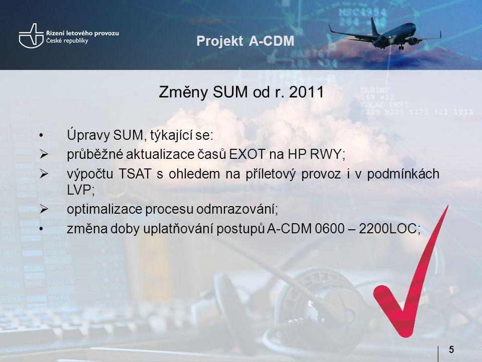 Projekt A-CDM 5 Změny SUM od r. 2011 Úpravy SUM, týkající se:  průběžné aktualizace časů EXOT na HP RWY;  výpočtu TSAT s ohledem na příletový provoz
