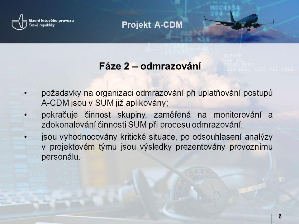 """Projekt A-CDM 7 Specifikace a kontrola plnění požadavků funkčnosti SUM, návrhy na zlepšení vycházející ze získaných poznatků během zkušebního provozu; Zapojení v pracovní skupině """"provozní statistiky Spolupráce s LP a DPRO ohledně změny procesu odmrazování v sezoně W2013/2014; Specifikace a kontrola plnění požadavků na úpravu SUM ve vztahu k zprávám DPI Aktivity pracovního týmu A-CDM"""