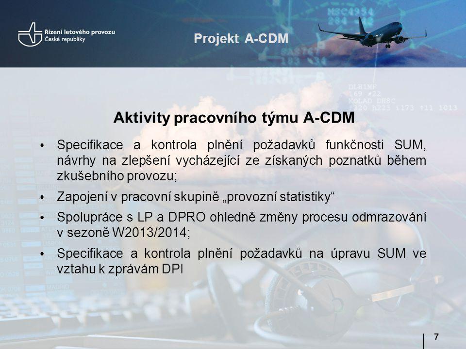 Projekt A-CDM 8 Účast na fórech CDM  Spolupráce ve skupině HTF (EUROCONTROL);  Členství v NORDIC-CDM (Finsko, Norsko, Švédsko, Dánsko);  META-CDM (EUROCONTROL, výrobní organizace a výzkum); Workshopy  se zástupci leteckých společností  společná setkání zástupců všech partnerů projektu A-CDM Prezentace postupů a výsledků v pracovních skupinách EUROCONTROL Aktivity pracovního týmu A-CDM