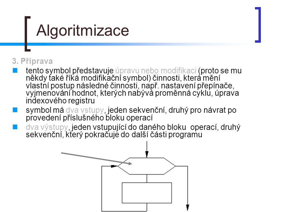 Algoritmizace 3. Příprava tento symbol představuje úpravu nebo modifikaci (proto se mu někdy také říká modifikační symbol) činnosti, která mění vlastn
