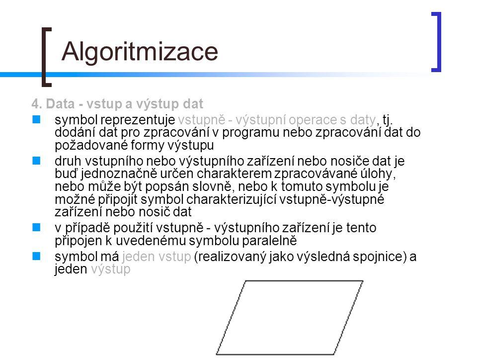Algoritmizace 4. Data - vstup a výstup dat symbol reprezentuje vstupně - výstupní operace s daty, tj. dodání dat pro zpracování v programu nebo zpraco