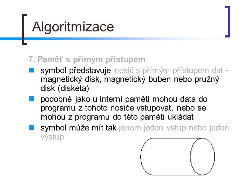 Algoritmizace 7. Paměť s přímým přístupem symbol představuje nosič s přímým přístupem dat - magnetický disk, magnetický buben nebo pružný disk (disket