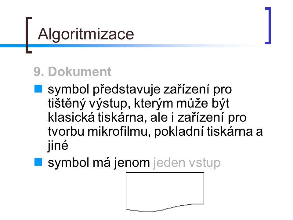 Algoritmizace 9. Dokument symbol představuje zařízení pro tištěný výstup, kterým může být klasická tiskárna, ale i zařízení pro tvorbu mikrofilmu, pok