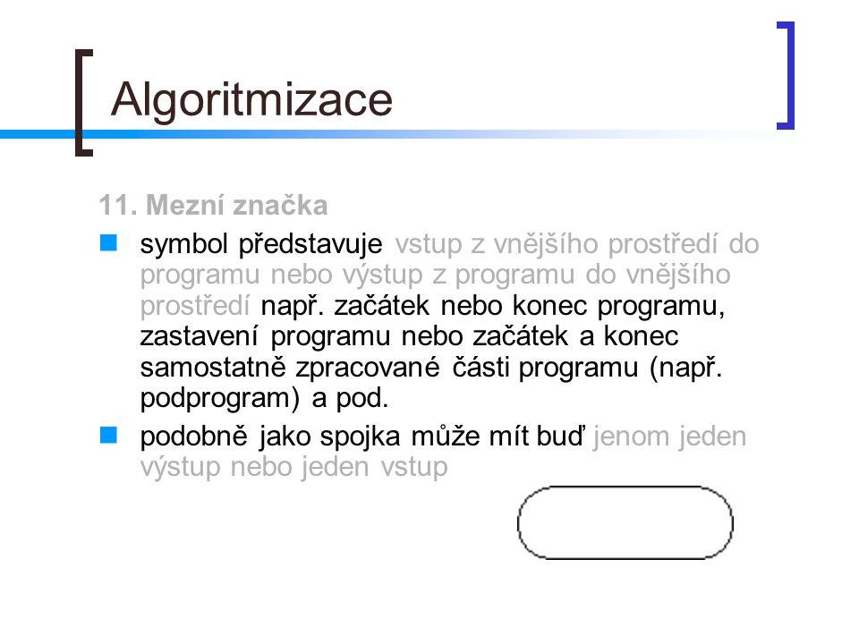 Algoritmizace 11. Mezní značka symbol představuje vstup z vnějšího prostředí do programu nebo výstup z programu do vnějšího prostředí např. začátek ne