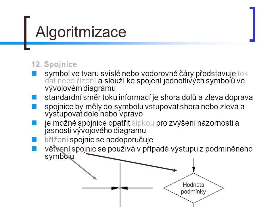 Algoritmizace 12. Spojnice symbol ve tvaru svislé nebo vodorovné čáry představuje tok dat nebo řízení a slouží ke spojení jednotlivých symbolů ve vývo