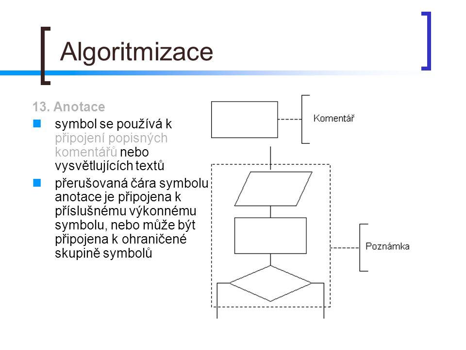 Algoritmizace 13. Anotace symbol se používá k připojení popisných komentářů nebo vysvětlujících textů přerušovaná čára symbolu anotace je připojena k