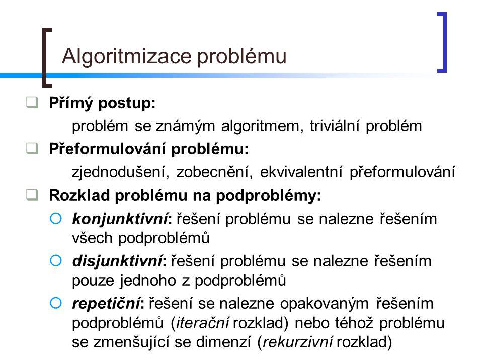 Algoritmizace problému  Přímý postup: problém se známým algoritmem, triviální problém  Přeformulování problému: zjednodušení, zobecnění, ekvivalentní přeformulování  Rozklad problému na podproblémy:  konjunktivní: řešení problému se nalezne řešením všech podproblémů  disjunktivní: řešení problému se nalezne řešením pouze jednoho z podproblémů  repetiční: řešení se nalezne opakovaným řešením podproblémů (iterační rozklad) nebo téhož problému se zmenšující se dimenzí (rekurzivní rozklad)