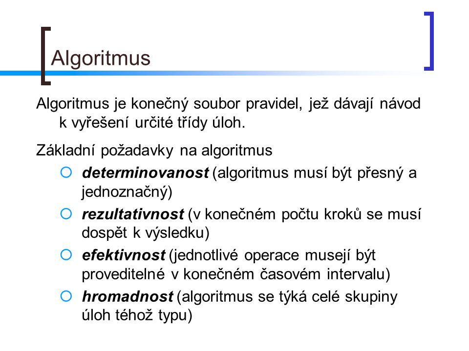 Algoritmus Algoritmus je konečný soubor pravidel, jež dávají návod k vyřešení určité třídy úloh. Základní požadavky na algoritmus  determinovanost (a