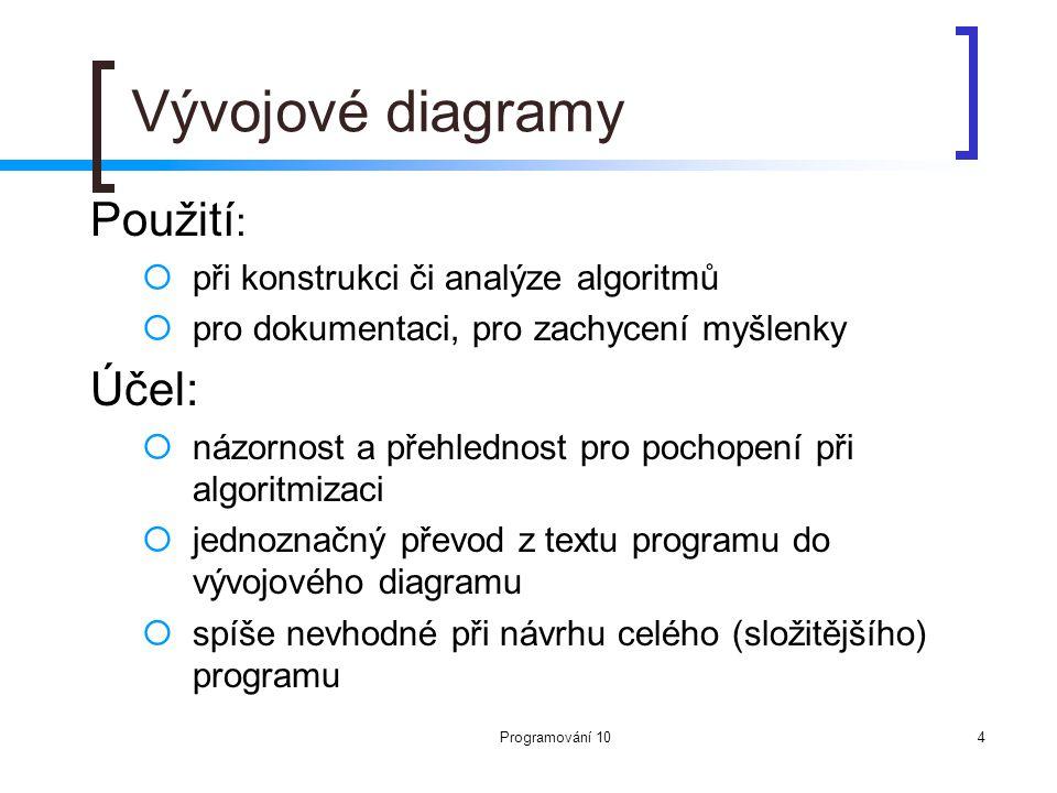 Programování 104 Vývojové diagramy Použití :  při konstrukci či analýze algoritmů  pro dokumentaci, pro zachycení myšlenky Účel:  názornost a přehl