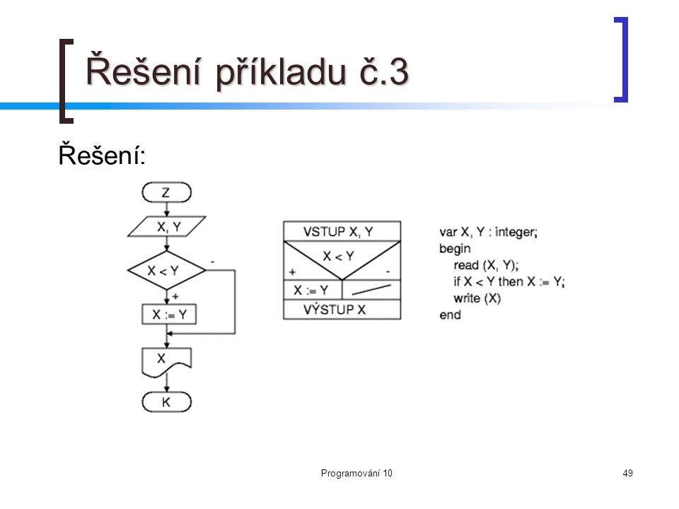 Programování 1049 Řešení příkladu č.3 Řešení: