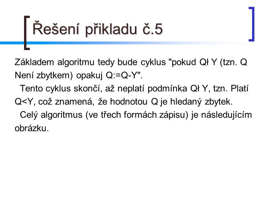 Řešení přikladu č.5 Základem algoritmu tedy bude cyklus pokud Qł Y (tzn.