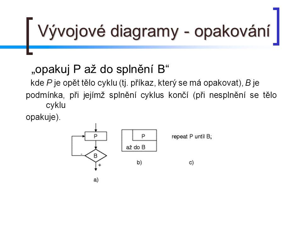 """Vývojové diagramy - opakování """"opakuj P až do splnění B"""" kde P je opět tělo cyklu (tj. příkaz, který se má opakovat), B je podmínka, při jejímž splněn"""