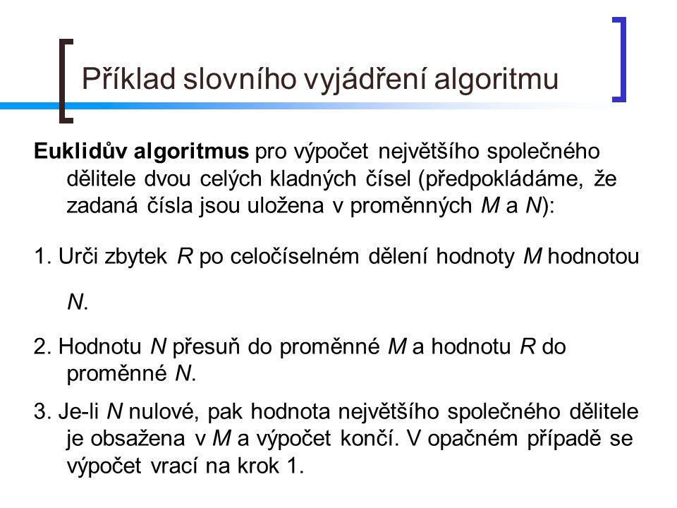 Příklad slovního vyjádření algoritmu Euklidův algoritmus pro výpočet největšího společného dělitele dvou celých kladných čísel (předpokládáme, že zadaná čísla jsou uložena v proměnných M a N): 1.