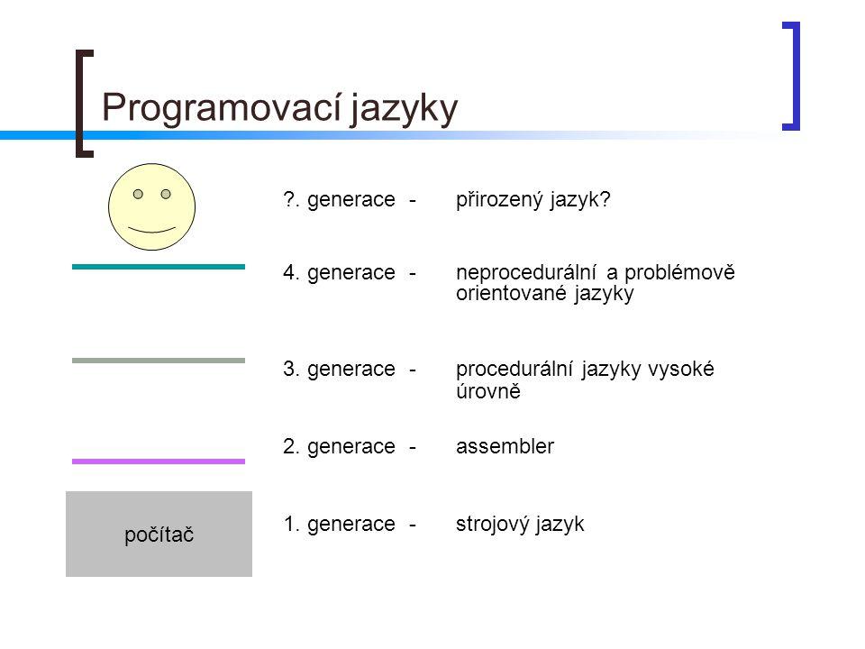 Programovací jazyky počítač ?. generace - přirozený jazyk? 4. generace - neprocedurální a problémově orientované jazyky 3. generace - procedurální jaz