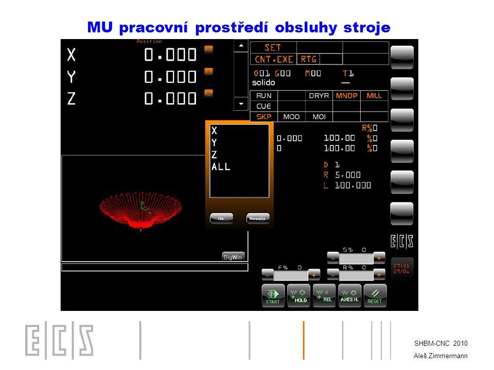 SHBM-CNC 2010 Aleš Zimmermann SETUP II. Struktura menu