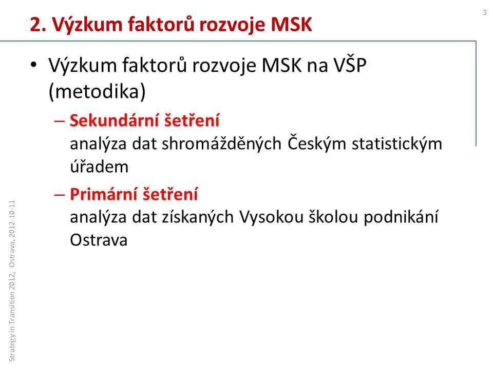 2. Výzkum faktorů rozvoje MSK 3 Strategy in Transition 2012, Ostrava, 2012-10-11 Výzkum faktorů rozvoje MSK na VŠP (metodika) – Sekundární šetření ana