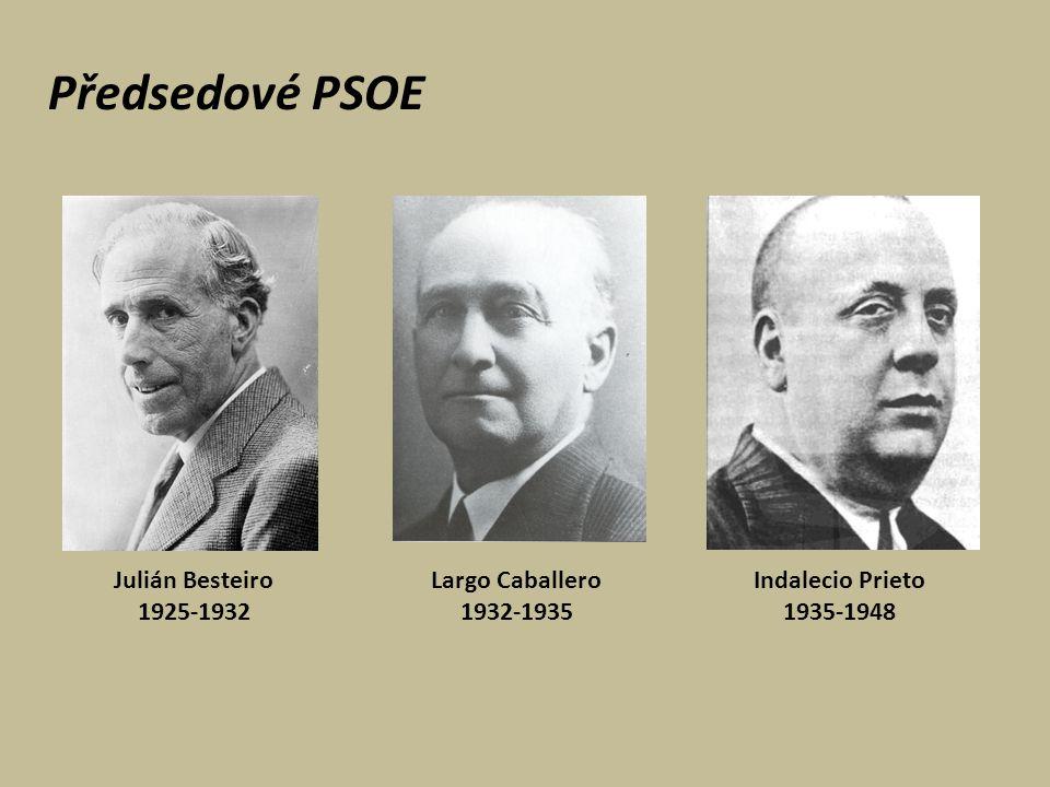 Předsedové PSOE Julián Besteiro 1925-1932 Indalecio Prieto 1935-1948 Largo Caballero 1932-1935