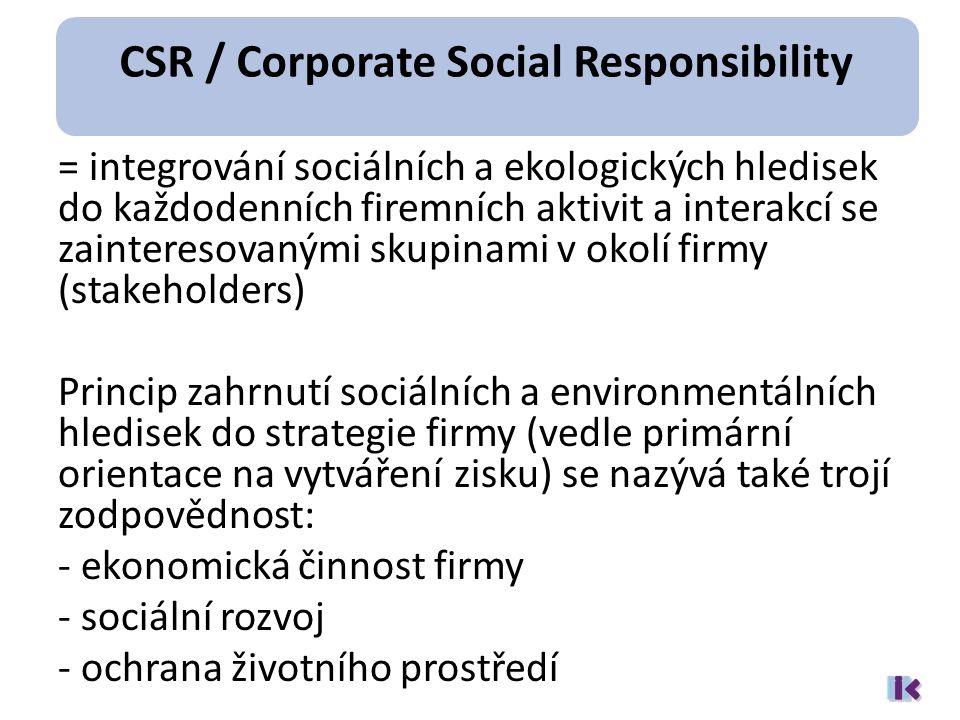= integrování sociálních a ekologických hledisek do každodenních firemních aktivit a interakcí se zainteresovanými skupinami v okolí firmy (stakeholders) Princip zahrnutí sociálních a environmentálních hledisek do strategie firmy (vedle primární orientace na vytváření zisku) se nazývá také trojí zodpovědnost: - ekonomická činnost firmy - sociální rozvoj - ochrana životního prostředí CSR / Corporate Social Responsibility