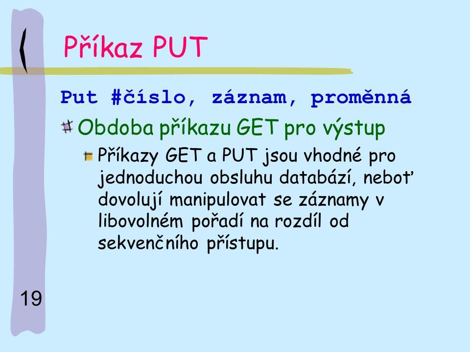 19 Příkaz PUT Put #číslo, záznam, proměnná Obdoba příkazu GET pro výstup Příkazy GET a PUT jsou vhodné pro jednoduchou obsluhu databází, neboť dovoluj